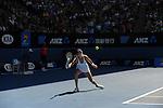 Agnieszka Radwanska (POL) loses to Dominika Cibulkova (SVK) 6-1, 6-2 at the Australian Open in Melbourne Australia on January 23, 2014.