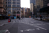April 21, 2020<br /> New York, New York<br /> <br /> Astor Place in empty lower Manhattan just after sunrise during the height of the coronavirus pandemic.