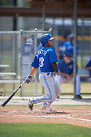 Toronto Blue Jays shortstop Bo Bichette (18) follows through on a swing during a minor league Spring Training game against the New York Yankees on March 30, 2017 at the Englebert Complex in Dunedin, Florida.  (Mike Janes/Four Seam Images)