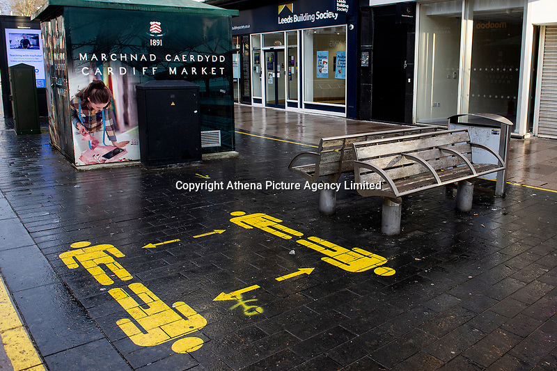 Pictured: Social distancing markers on display for a public bench in Cardiff, Wales, UK. Friday 8th January 2021<br /> Re: The whole of Wales in in Tier 4 due to rising Covid-19 Coronavirus cases, Cardiff, Wales, UK.