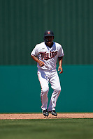 Minnesota Twins Tzu-Wei Lin (37) leads off second base during a Major League Spring Training game against the Pittsburgh Pirates on March 16, 2021 at Hammond Stadium in Fort Myers, Florida.  (Mike Janes/Four Seam Images)