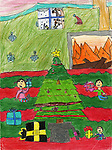 Holiday card designed by Abdiel Cervantes of Felix Cook Elementary Fine Arts Magnet School.