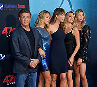 "LOS ANGELES, USA. August 14, 2019: Sylvester Stallone, Sistine Stallone, Jennifer Flavin, Sophia Stallone & Scarlet Stallone at the premiere of ""47 Meters Down: Uncaged"" at the Regency Village Theatre.<br /> Picture: Paul Smith/Featureflash"