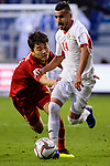 Ahmad Ersan of Jordan (R) fights for the ball with Luong Xuan Truong of Vietnam (L) during the AFC Asian Cup UAE 2019 Round of 16 match between Jordan (JOR) and Vietnam (VIE) at Al Maktoum Stadium on 20 January 2019 in Dubai, United Arab Emirates. Photo by Marcio Rodrigo Machado / Power Sport Images