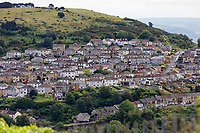 Pictured: The view of the St Thomas area from Mayhill. Wednesday 16 June 2021<br /> Re: Riot aftermath in the Mayhill area of Swansea, Wales, UK.