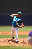 Tampa Tarpons pitcher Randy Vasquez (3) during a game against the Fort Myers Mighty Mussels on May 23, 2021 at George M. Steinbrenner Field in Tampa, Florida.  (Mike Janes/Four Seam Images)