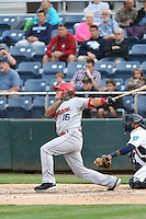 Dean Long (16) of the Spokane Indians bats during a game against the Everett AquaSox at Everett Memorial Stadium on July 24, 2015 in Everett, Washington. Everett defeated Spokane, 8-6. (Larry Goren/Four Seam Images)