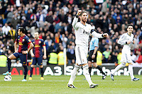 Real Madrid's Sergio Ramos celebrates goa in presence of  FC Barcelona's Alexis Sanchez (l) and Andres Iniesta (2l) and Real Madrid's Jose Maria Callejon during La Liga match.March 02,2013. (ALTERPHOTOS/Acero) /NortePhoto