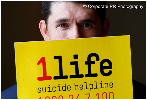"No Fee for Repro:.Padraig Harrington is pictured at the launch of ""1 Life"", a new 24 hour suicide prevention helpline. 1Life (Freephone 1800 24 7 100) offers confidential advice and support nationwide for callers in need of help. Pic Robbie Reynolds / CPR."