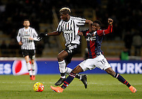 Calcio, Serie A:  Bologna vs Juventus. Bologna, stadio Renato Dall'Ara, 19 febbraio 2016. <br /> Juventus' Paul Pogba, left, is challenged by Bologna's Ibrahima MBaye during the Italian Serie A football match between Bologna and Juventus at Bologna's Renato Dall'Ara stadium, 19 February 2016.<br /> UPDATE IMAGES PRESS/Isabella Bonotto