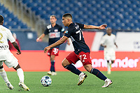 FOXBOROUGH, MA - AUGUST 5: Damian Rivera #72 of New England Revolution II on the attack during a game between North Carolina FC and New England Revolution II at Gillette Stadium on August 5, 2021 in Foxborough, Massachusetts.