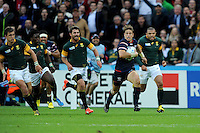 07 October 2015: Blaine Scully of USA motors up the left wing leaving Bryan Habana of South Africa behind during Match 31 of the Rugby World Cup 2015 between South Africa and USA - Queen Elizabeth Olympic Park, London, England (Photo by Rob Munro/CSM)