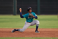 AZL Mariners shortstop Osiris Castillo (38) throws to second base during an Arizona League game against the AZL Giants Orange on July 18, 2019 at the Giants Baseball Complex in Scottsdale, Arizona. The AZL Giants Orange defeated the AZL Mariners 7-4. (Zachary Lucy/Four Seam Images)