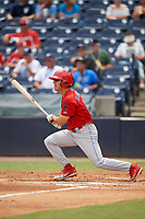 Clearwater Threshers left fielder Adam Haseley (17) follows through on a swing during a game against the Tampa Tarpons on April 22, 2018 at George M. Steinbrenner Field in Tampa, Florida.  Clearwater defeated Tampa 2-1 (Mike Janes/Four Seam Images)