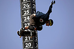 Omar Hassan competes in the Skateboard Big Air competition during X-Games 12 in Los Angeles, California on August 5, 2006.