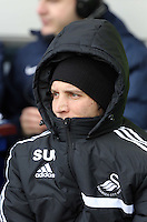 Pictured: Michu of Swansea on the bench. Saturday 22 March 2014<br /> Re: Barclay's Premier League, Everton v Swansea City FC at Goodison Park, Liverpool, UK.