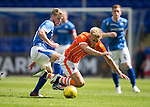 St Johnstone v Blackpool...25.07.15  McDiarmid Park, Perth.. Pre-Season Friendly<br /> Brad Potts is fouled by David Wotherspoon<br /> Picture by Graeme Hart.<br /> Copyright Perthshire Picture Agency<br /> Tel: 01738 623350  Mobile: 07990 594431