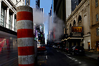 NEW YORK - NEW YORK - APRIL 13: View of the sewer smoke on April 13, 2021 in New York. More than 300 corporates including Google and Mc Donalds are pushing the Biden administration to almost double the United States target for cutting the planet warming emissions, ahead global summit on climate change in 2021. (Photo by John Smith/VIEWpress)