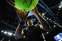 Mike Bryan (USA) signs autographs for fans as he leaves the court during Day Three of the Barclays ATP World Tour Finals 2015 played at The O2, London on November 17th 2015