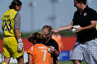 Kelly Parker (7) of Sky Blue FC is treated for a head injury. Sky Blue FC defeated the Boston Breakers 1-0 during a Women's Professional Soccer match at Yurcak Field in Piscataway, NJ, on July 4, 2009.