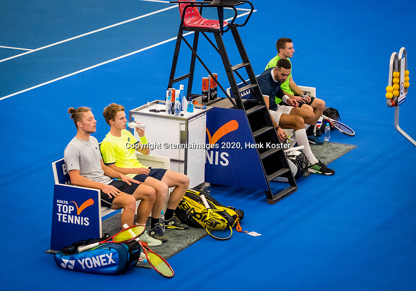 Amstelveen, Netherlands, 16  December, 2020, National Tennis Center, NTC, NK Indoor, National  Indoor Tennis Championships,  Doubles :  Alban Meuffels (NED)  and<br /> David Pel (NED) right and Jesper de Jong (NED) and <br /> Tim van Rijthoven (NED) during changeover<br /> Photo: Henk Koster/tennisimages.com