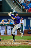 John Cresto (27) of the Grand Junction Rockies bats during a game against the Ogden Raptors at Lindquist Field on September 7, 2018 in Ogden, Utah. The Rockies defeated the Raptors 8-5. (Stephen Smith/Four Seam Images)