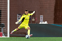 FOXBOROUGH, MA - AUGUST 5: Joe Rice #51 of New England Revolution II takes a goal kick during a game between North Carolina FC and New England Revolution II at Gillette Stadium on August 5, 2021 in Foxborough, Massachusetts.