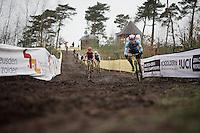 Laurens Sweeck (BEL/ERA-Murprotec) leading the pack with Lars Van der Haar (NLD/Giant-Alpecin) & Wout Van Aert (BEL/Crelan-Vastgoedservice) in tow<br /> <br /> Men's Elite Race<br /> <br /> UCI 2016 cyclocross World Championships,<br /> Zolder, Belgium