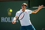 March 15, 2019: Roger Federer (SUI) in action where he defeated Hubert Hurkacz (POL) 6-4, 6-4 at the BNP Paribas Open at the Indian Wells Tennis Garden in Indian Wells, California. ©Mal Taam/TennisClix/CSM