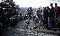 Luke Rowe (GBR/SKY) overtakes Tony Martin (DEU/Etixx-Quickstep) on the top of the Paterberg<br /> <br /> E3 - Harelbeke 2016