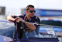 Feb 23, 2014; Chandler, AZ, USA; NHRA pro stock driver Vincent Nobile during  the Carquest Auto Parts Nationals at Wild Horse Pass Motorsports Park. Mandatory Credit: Mark J. Rebilas-USA TODAY Sports