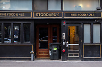 "Stoddard's Fine Food and Ale, a restaurant and pub in Downtown Crossing, permanently closed on in October 2020 due to the ongoing Coronavirus (COVID-19) global pandemic Boston, Massachusetts, on Sat., Jan. 9, 2021. In a twitter thread about the closure, co-owner Ace Gershfield wrote, ""We derived close to 40 percent of our revenues from the Downtown Crossing theaters and shows, those are non existent. We generated 40 percent of our revenue from the everyday workers in the office buildings near by, those were closed, then to reopen at 25 percent capacity and now upwards of 50 percent, but the area is still desolate! After work and special events drove the remaining traffic of which we have NONE!"""