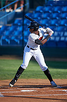 Great Falls Voyagers Luis Mieses (5) at bat during a Pioneer League game against the Missoula Osprey at Centene Stadium at Legion Park on August 19, 2019 in Great Falls, Montana. Missoula defeated Great Falls 4-1 in the first game of a doubleheader. Games were moved from Missoula after Ogren Park at Allegiance Field, the Osprey's home field, was ruled unplayable. (Zachary Lucy/Four Seam Images)