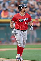 Bruce Maxwell (11) of the Nashville Sounds trots to first base against the Salt Lake Bees at Smith's Ballpark on July 27, 2018 in Salt Lake City, Utah. The Bees defeated the Sounds 8-6. (Stephen Smith/Four Seam Images)