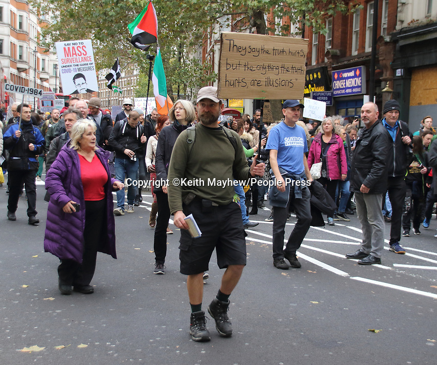 Unite for Freedom movement - the Anti lockdown, anti vaccine, anti government and anti masks protesters, march from Hyde Park to Westminster for their 'We Have The Power' rally. Protesting against the new government measures to combat Covid-19.London on Saturday October 24th 2020<br /> <br /> Photo by Keith Mayhew