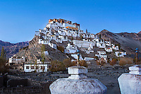 Thiksey Monastery  or Thiksey  Gonpa in the evening. Ladakh region of Jammu Kashmir, India.