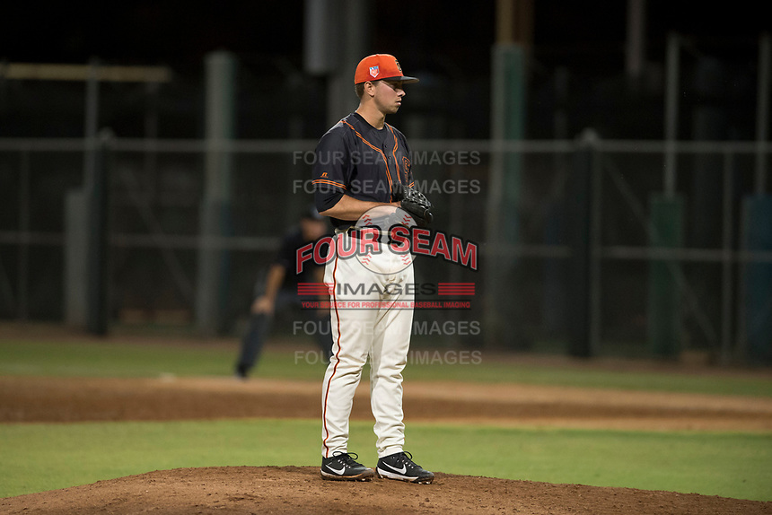 AZL Giants Black relief pitcher Trevor Horn (41) looks in for the sign during an Arizona League game against the AZL Angels at the San Francisco Giants Training Complex on July 1, 2018 in Scottsdale, Arizona. The AZL Giants Black defeated the AZL Angels by a score of 4-2. (Zachary Lucy/Four Seam Images)