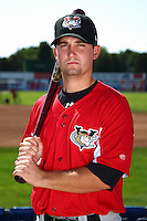Tri-City ValleyCats catcher Ryan McCurdy #2 poses for a photo before a game against the Batavia Muckdogs at Dwyer Stadium on July 15, 2011 in Batavia, New York.  Batavia defeated Tri-City 4-3.  (Mike Janes/Four Seam Images)