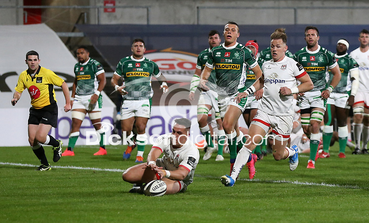 Friday 2nd October 2020 | Ulster Rugby vs Benetton Rugby<br /> <br /> James Hume scores Ulster's first try during the PRO14 Round 1 clash between Ulster Rugby and Benetton Rugby at Kingspan Stadium, Ravenhill Park, Belfast, Northern Ireland. Photo by John Dickson / Dicksondigital