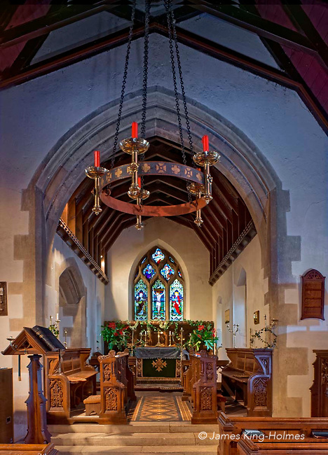 The Sanctuary of St Lawrence Church, Tubney, Oxfordshire, UK. This is the only Protestant church designed by Augustus Pugin. The interior fittings were designed by him and remain unchanged since its consecration in 1847. The Sanctuary of St Lawrence Church, Tubney, Oxfordshire, UK. This is the only Protestant church designed by Augustus Pugin. The interior fittings were designed by him and remain unchanged since its consecration in 1847.