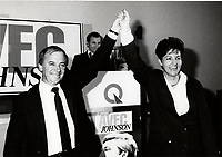 Montreal (QC) CANADA Oct 10 1985 file photo -  Guy Chevrette (L) and Nadia Assimopoulos, V-P, Parti Quebecois and candidate in Lachine-Marquette