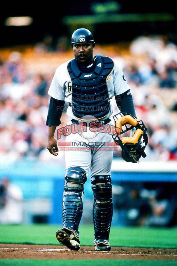 Tony Eusebio of the Houston Astros during a 1999 Major League Baseball season game against the Los Angeles Dodgers in Los Angeles, California. (Larry Goren/Four Seam Images)