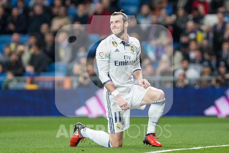 Garet Bale of Real Madrid reacts during the match of Spanish La Liga between Real Madrid and UD Las Palmas at  Santiago Bernabeu Stadium in Madrid, Spain. March 01, 2017. (ALTERPHOTOS / Rodrigo Jimenez)