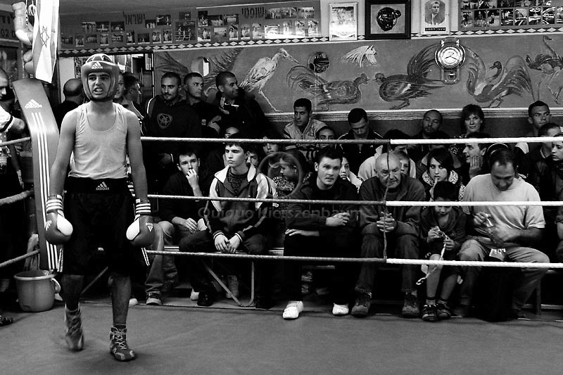 Palestinian boxer Ramsi Jamil, is seen in the corner as he gets during a boxing match for the Jerusalem Championship at the Jerusalem Boxing Club, November 20, 2009.  Located in a bomb shelter, the club has 150 members in which the big majority is Jewish, mostly emigrants from the former Soviet Union , with a minority of Palestinians from East Jerusalem (15 members). Lately the Palestinian boxers decided to open a club in East Jerusalem in order to recruit more Palestinian boxers.