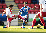 St Johnstone v Kilmarnock…25.02.17     SPFL    McDiarmid Park<br />Richie Foster is tackled by Greg Taylor<br />Picture by Graeme Hart.<br />Copyright Perthshire Picture Agency<br />Tel: 01738 623350  Mobile: 07990 594431