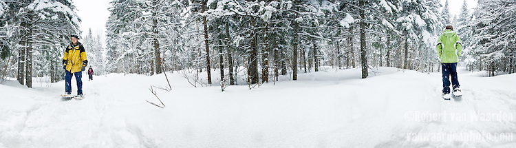 Snowshoeing in the Chic Chocs, Gaspe, Quebec, Canada.