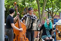 Musicians performing at Northwest Folklife Festival 2016, Seattle Center, Washington, USA.