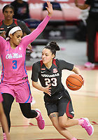 Amber Ramirez, with the University of Arkansas Razorback Women's basketball team, drives into the lane against Donnetta Johnson with the University of University of Mississippi Friday, February 19, 2021, at Bud Walton Arena on the campus of the University in Fayetteville. Check out nwaonline.com/210220Daily/ and nwadg.com/photos for a photo gallery.<br /> (NWA Democrat-Gazette/David Gottschalk)