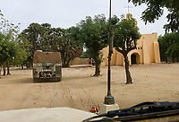 MALI, Gao, Minusma UN mission, german army Bundeswehr on patrol with Eagle armored vehicle in Gao city, catholic church, the church was rebuilt after it was burned down by islamic extremist during the war 2012
