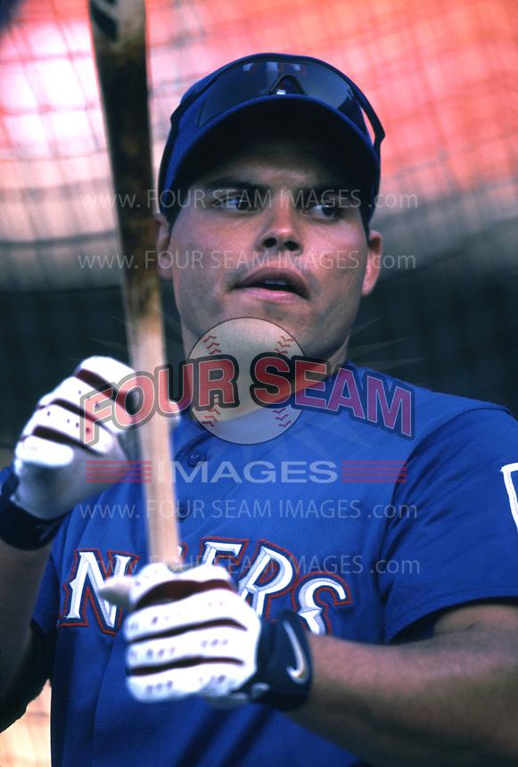 Ivan Rodriguez of the Texas Rangers during a 2001 season MLB game at Angel Stadium in Anaheim, California. (Larry Goren/Four Seam Images)